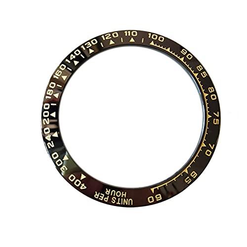 MINGYUYUYY 38. 5MM Bisel de Reloj de cerámica Apto Adecuado para el cosmograpto Daytona Hombre Reloj de Reloj Diámetro Interior 30. 5MM Ver Accesorios de reemplazo (Color : Black)