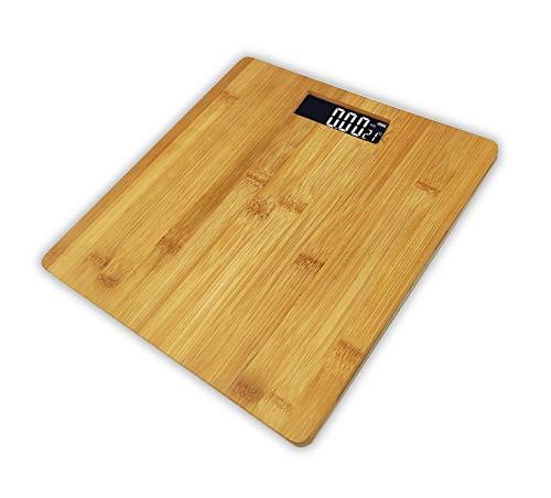 Pritech – Bilancia da bagno digitale con piattaforma in bambù (Eco-friendly), display LCD, capacità massima 180 kg, spegnimento automatico e batterie incluse