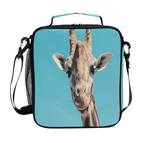 BIGJOKE Sac à déjeuner isotherme en néoprène avec tête de girafe pour adultes, enfants, hommes, femmes, activités en plein air, sac d'école, pique-nique, camping, voyage