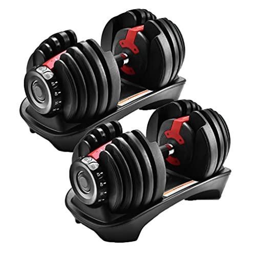 可変式ダンベル 20kg アジャスタブルダンベル ダンベル 可変式 2kg - 24kg 2個セット 15段階調節 5秒で重量調節 クイックダンベル 筋トレ