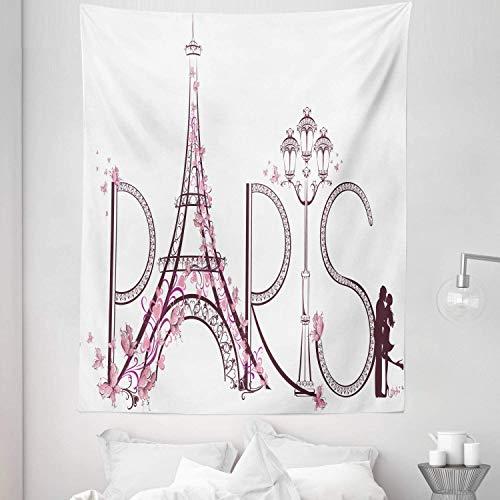 de París, tamaño doble, letras de la torre Eiffel, pareja, viaje, flores, diseño floral, estampado europeo, colcha para colgar en la pared, cubrecama, decoración de la pared, 68