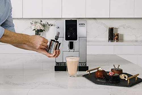 De'Longhi Dinamica ECAM35025SB TrueBrew Over Ice™ Fully Automatic Coffee and Espresso Machine, with Premium Adjustable… 6 The first and only fully automatic coffee machine with De'Longhi TrueBrew Over Ice Coffee technology. The True Brew Process Delivers Smooth, Full-Bodied Iced Coffee: Dinamica with De'Longhi TrueBrew Over Ice feature is the first and only Fully Automatic Coffee and Espresso Machine with iced coffee recipe. By brewing at a lower temperature, pre-infusing & infusing the coffee and offering the ability to customize to extra strong, De'Longhi TrueBrew Over Ice brews smooth, full-bodied coffee over ice that is never watered down. Heat-up time in less than 40 seconds: With Italian 15 bar high performance pump and a brew unit that takes only 40 seconds to heat up, you can have coffee shop quality coffee beverages with the push of a button.