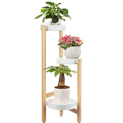 Bamboo Plant Stand BAIDALL 3 TierTall Plant Display Rack with Tray Flower Pot Holder Fit Pots in Varied Sizes for Garden Indoor Outdoor Home Decor