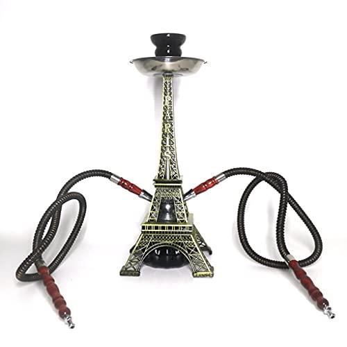 GaoYunQin Huka Shisha Pfeifenset Pariser Turm Design Glasvase Shisha Starter Kit, für Bar Nachtclub Party mit Keramikschale