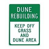 Señal de advertencia,Dune Sign Dune Rebuilding Keep Off Grass and Dune Area,Señal de tráfico Señal de carretera Señal de empresa 12x16 Inch Cartel de chapa de metal de aluminio