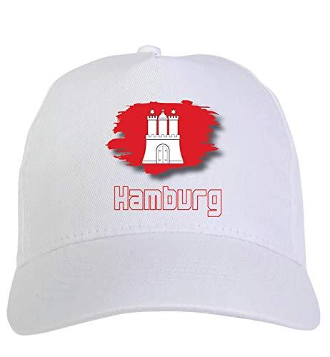 Typolitografie Ghisleri hoeden wit regio's Europa pet wit Hamburg Duitsland vlag klittenbandsluiting 31