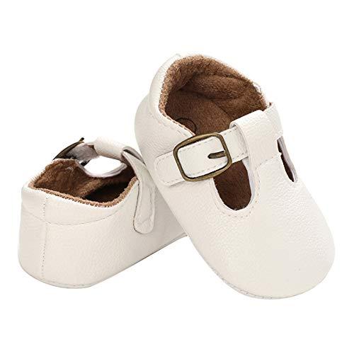 DERCLIVE Chaussures antidérapantes et respirantes pour bébé avec semelle souple et sangle en T 0–12 mois
