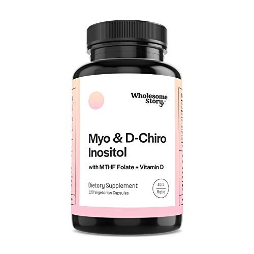 Myo-Inositol & D-Chiro Inositol + MTHF Folate + Vitamin D by Wholesome Story | 30-Day Supply | 40:1 Ratio | Support for Hormonal Balance, Ovarian Function, Fertility (TTC), PCOS, & Homocysteine Levels