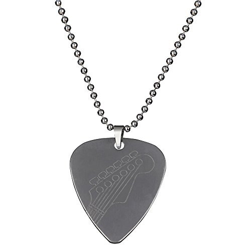 PUNK Halskette, Anhänger Plektron, aus Edelstahl für E-Bass, -Gitarre, kreatives Design Guitar head