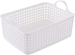 JUAN Household Can Be Superimposed Classified Clothing Storage Basket Plastic Solid Color (Color : White, Size : 43 * 31.5...
