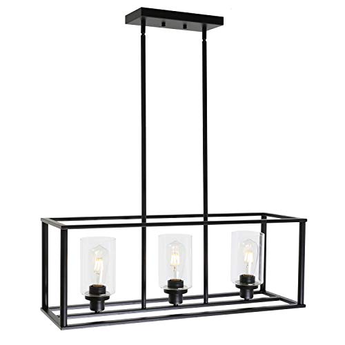 VINLUZ 3 Light Kitchen Island Pendant Lighting Black Contemporary Industrial Linear Chandelier with Clear Glass Shade for Dining Room Kitchen Island Living Room