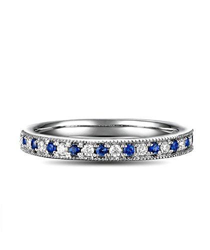 Aundiz Ringe Gold 750 Goldring 18 Karat Trauring Natürlich 0.13 Carat Sri Lanka Saphir 0.09 Carat Diamant Größe 47 (15.0) Blau