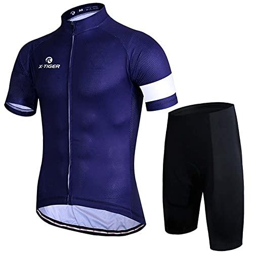 GJMQQ Conjunto de Trajes de Ciclismo de Manga Corta Transpirables para Hombres, con Pantalones Cortos con Pechera con Almohadilla de Gel 3D para la Camiseta