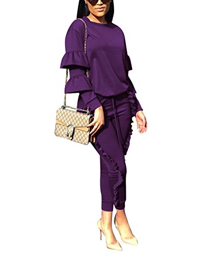 KANSOON Women 2 Pieces Outfits Puff Sleeve Top and Long Flounced Pants Sweatsuits Set Tracksuits Purple L