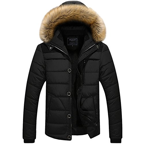 LEOCLOTHO Herren Steppjacke Wattierte Jacke Baumwolle Gepolstert Verdicken Mantel Hoodie Oberbekleidung