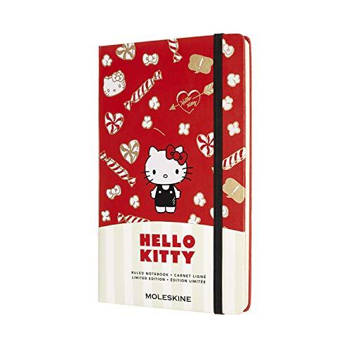 Moleskine Hello Kitty - Cuaderno con páginas rayadas, tamaño grande 13 x 21 cm, tapa dura, color rojo