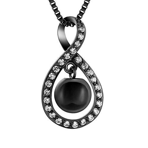 TIANZXS Joyería de cremación Infinita para Cenizas Colgante de Cristal medallón de Acero Inoxidable Recuerdo urna Conmemorativa Collar para Hombres Mujeres A