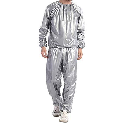 MFFACAI Traje de Sudor para Pérdida de Peso Traje de Sauna para Trabajo Pesado Ejercicio Físico Chaqueta de Gimnasio Pantalón Trajes de Entrenamiento para Hombres Mujeres (Color : Silver, Size : 4XL)
