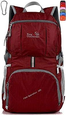 Outlander Packable Lightweight Travel Hiking Backpack Daypack (Dark Red, 35L)