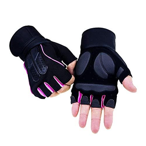 fuchsiaan Guantes de fitness transpirables antideslizantes de entrenamiento de fuerza medio dedo al aire libre levantamiento de pesas guantes para hombres y mujeres, rosa L