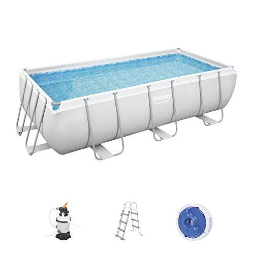 Bestway Power Steel Framepool-Set, eckig, mit Sandfilteranlage & Sicherheitsleiter 404 x 201 x 100 cm Pool, grau