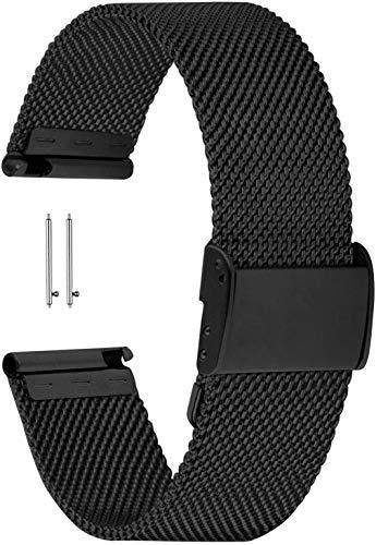 YGRY Watch Strap 18mm 20mm 22mm Cinturini per Smartwatch Orologi, Acciaio inossidabile metallico Cinturino di Ricambio Sgancio Rapido Cinghia Orologio per Uomo e donna (18 mm, Nero)