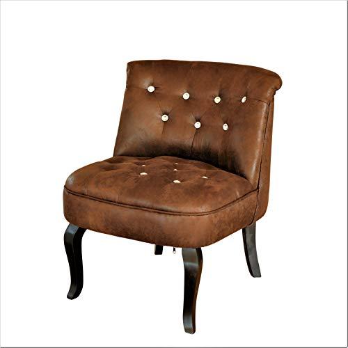 Wildlederoptik Sessel Vintage Sessel Barocksessel Textil Knopf Kristall