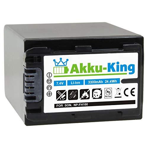 Akku-King Akku kompatibel mit Sony NP-FH100 - Li-Ion 3300mAh - für DCR- u. HDR-Serie u.a. DCR-DVD150E, DCR-DVD450E, DCR-SR37E, DCR-SR47E, DCR-SX30E