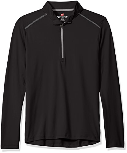 Hanes Men's Sport Performance Quarter-Zip Pullover, Black, M