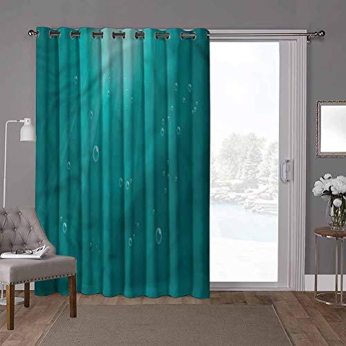 YUAZHOQI cortinas opacas para oscurecimiento de la habitación, verde azulado, rayos solares que pasan a través del océano, 100 x 108 pulgadas de ancho para ventana de guardería (1 panel)