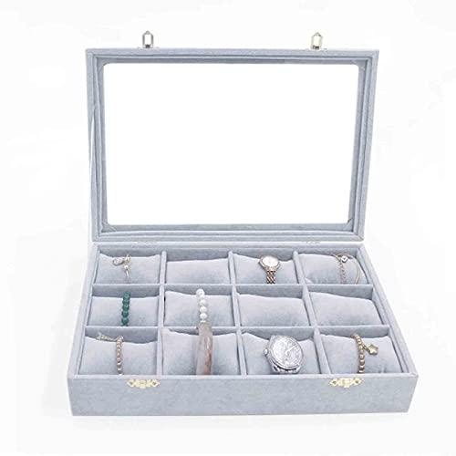 SONG Jewelry Box Watch Box 12 Lattice Velvet Almohada Flower Flower Velvet Reloj Box Pulsera Placa de exhibición Día de San Valentín Regalo de cumpleaños Regalo (Color : Gray)