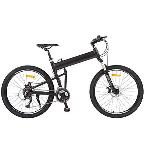 XYZLEO VTT VéLo Pliable Road Dirt Bike Hommes Femme 26 Pouces Mode 27 Vitesses Avant ArrièRe Amortissement Mountain Bikes Frein à Double Disque des Performances Stables VéLo,Noir
