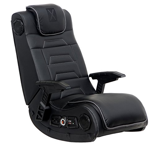 X Rocker Pro Series H3 Black Leather Vibrating Floor Video Gaming Chair with Headrest for Adult,...