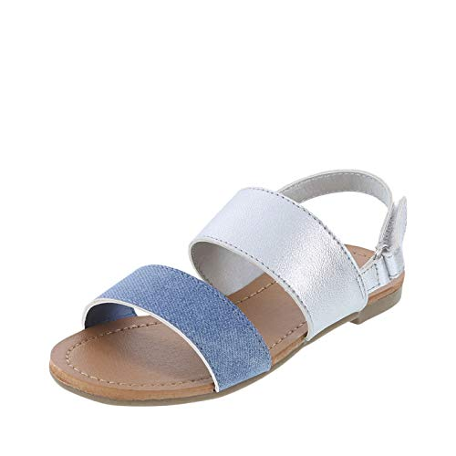 Zoe and Zac Silver Girls' Toddler Lynsey 2 Band Sandal 6 Regular