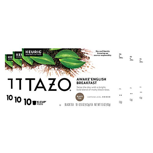 Tazo Awake English Breakfast K-Cup Pods For a Bold Traditional Breakfast-Style Tea Black Tea Caffeinated Tea Morning Drink 10 ct, Pack of 6