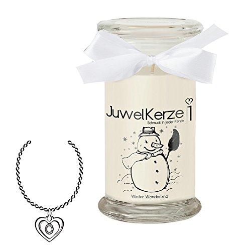 JuwelKerze Winter Wonderland - Kerze im Glas mit Schmuck - Große weiße Duftkerze mit Überraschung als Geschenk für Sie (Silber Halskette & Anhänger, Brenndauer: 90-120 Stunden)