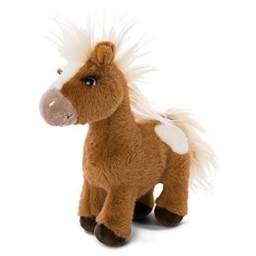 NICI Pony Suave Lorenzo 25 cm de pie-Juguetes de Peluches de Caballo, niños y bebés-Animal Relleno para Jugar y abrazar, Color marrón/Blanco, (47107)