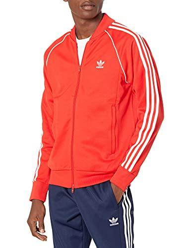 adidas Originals Men's Adicolor Classics Primeblue Superstar Track Jacket, Red/White, Medium