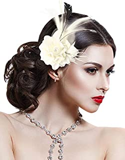 Hotvivid Fascinators for Women Tea Party Wedding Headband Rose Flower Feather Brooch Hair Clip