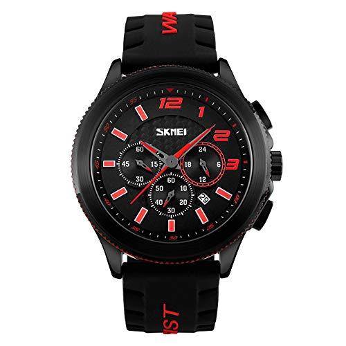 Smartwatches,Quartz Waterproof Business Retro Pointer Einzelkalender-Uhr Einzelne Große Zifferblatt-Mode-Uhr Gules