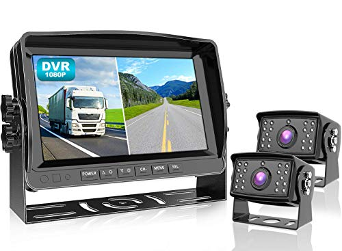 """Fookoo Ⅱ HD 9"""" Wired 1080P Backup Camera System Kit,9"""" DVR Dual Split Screen Monitor, IP69 Waterproof Rear View Camera for Truck/Semi-Trailer/Box Truck/RV, Sharp CCD Chip,100% Not Wash Up (DY912)"""