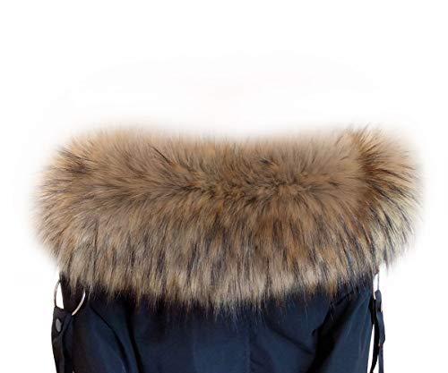 VEVESMUNDO Desmontable Cuello de Pelo Bufanda Estola del Cuello de Sintetica Postizo Piel Para Otoño Invierno Abrigo Chaqueta Chaleco Parka (Cuello de piel 80cm de largo, Marrón brillante)