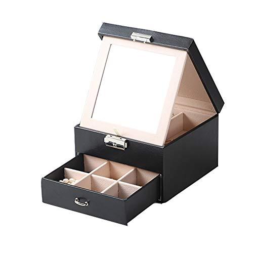 Caja Joyero Organizador Joyero cuero de la muchacha de gran capacidad de doble capa de la princesa del cajón del escritorio Tipo de boda del regalo de cumpleaños pendientes anillo de la mano de la joy