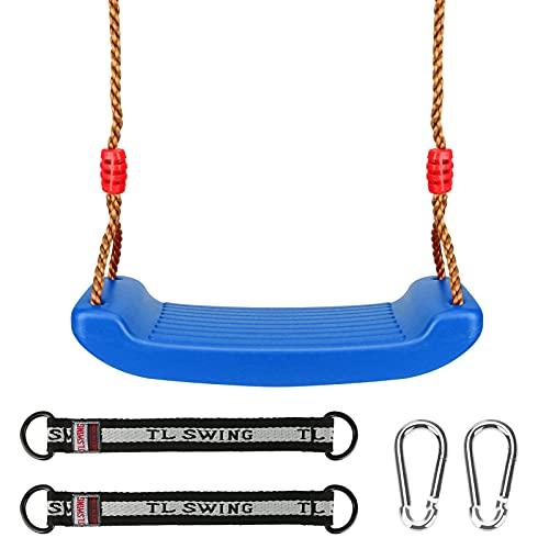Luckits Juego de columpio para niños, columpios de plástico con cuerda ajustable, resistente, fácil de instalar, asiento oscilante para niños, niñas, interior/al aire libre/patio de recreo/hogar/árbol