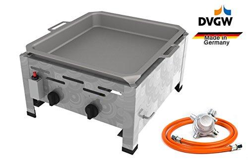 Gastro Edelstahl Gasbräter 2 flammig 9,0 KW mit Stahlpfanne f. Propangas + Gasschlauch Gewerberegler + SBS (Kocher, Gasgrill Gastrokocher, Gasherd, Bräter, Grill)