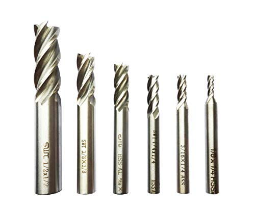 6Pack 1/8',1/4',3/16',5/16',3/8',1/2' inch Imperial Units High Speed Steel HSS 4 Flute Straight Shank Square Nose End Mill Cutter