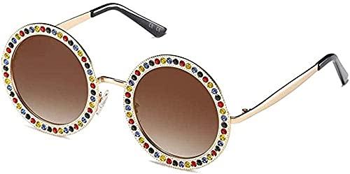 Gafas de sol redondas con diamantes de imitación, lente de policarbonato marrón claro, gafas de moda de lujo para mujer, marco de metal, no polarizado
