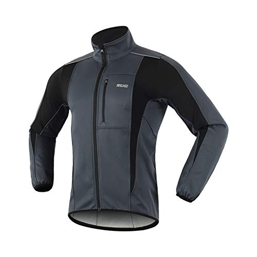 ARSUXEO Winter Warm UP Thermal Softshell Cycling Jacket Windproof Waterproof Bicycle MTB Mountain Bike Clothes 15K Gray Size Large