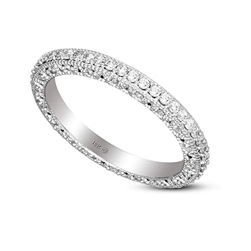 IGI Certified Lab Grown Diamond Ring 10K White Gold 5/8 carat Lab Created Diamond Eternity Band Ring For Women ( 5/8 CTTW, HI Color, I1 Clarity Diamond Jewelry For Women)