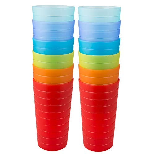 AOYITE Plastic Tumblers Drinking Glasses Set of 12 | Break Resistant 22 oz Plastic Cups | 6 Assorted Colors Restaurant Quality | BPA Free